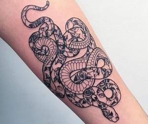 snake, tatouage, and tattoo image