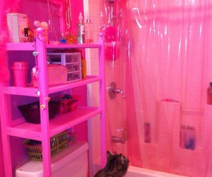 pink, bathroom, and cat image