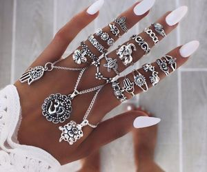accessories, silver, and rings image