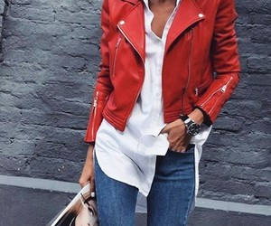 style, red, and jacket image