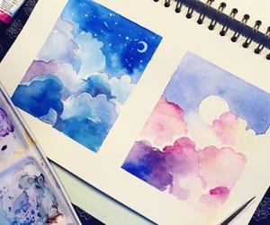 art, drawing, and clouds image