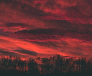 red, sunset, and sky image