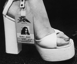 bianca jagger, black and white, and shoe image
