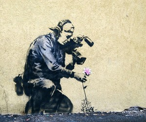 art, flowers, and BANKSY image
