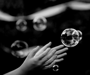 bubbles, black and white, and hands image
