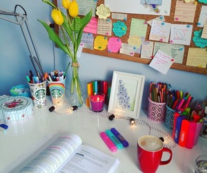 desk, flowers, and frame image