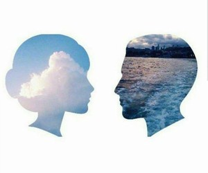 sea, woman, and sky image