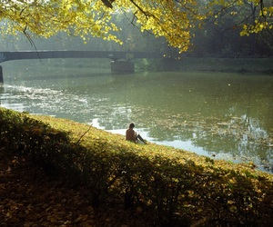 autumn, beautiful, and river image