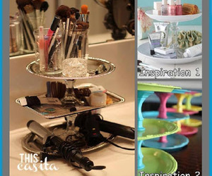 dollar store crafts, repurposing, and make up storeage ideas image