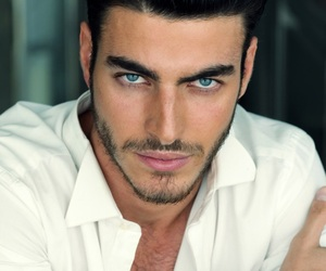 black hair, hot guy, and blue eyes image