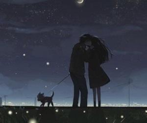 night, kiss, and love image