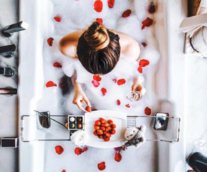 girl, bath, and roses image