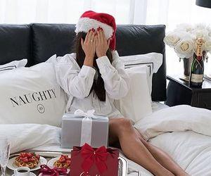 christmas, girl, and bed image
