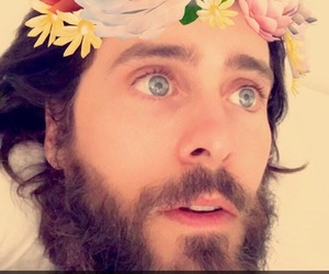 blue eyes, flower crown, and jared letto image
