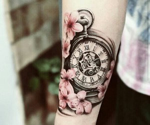 pocket watch, roses, and design image