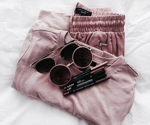 clothes, lipstick, and sunglasses image