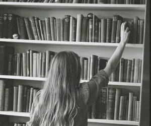 book, girl, and black and white image