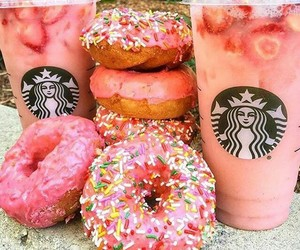 donuts, pink, and starbucks image