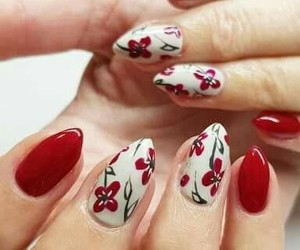 flowers, red nails, and spring image