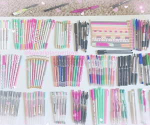 organize, pens, and pink image