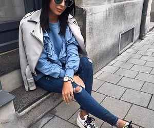 denim, fashionista, and leather image