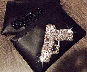 gun, diamond, and luxury image