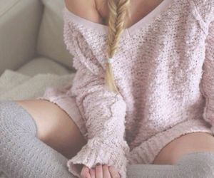 fashion, rosy, and sweater image