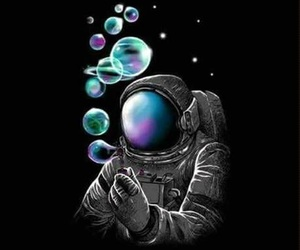 bubbles, astronaut, and wallpaper image
