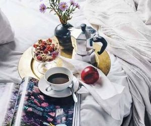 breakfast, coffee, and bed image