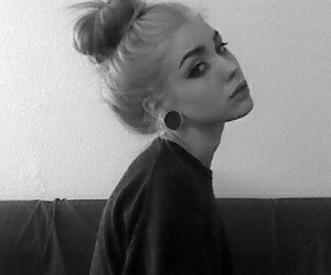 girl, black and white, and Plugs image