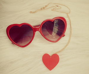 heart, glasses, and red image