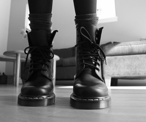 black and white, boots, and doc martens image