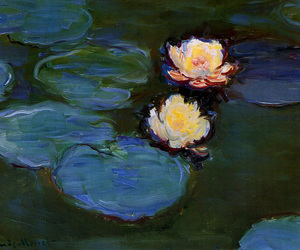 art, monet, and flowers image