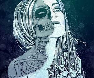girl, art, and skull image