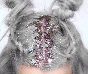hair, glitter, and grey image