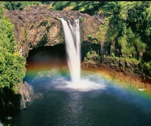 rainbow, waterfall, and nature image