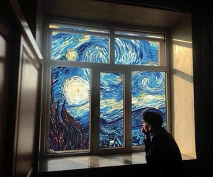 painting, vangogh, and starry night image