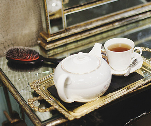 tea, teapot, and hairbrush image