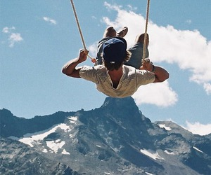 boy, mountains, and swing image