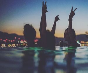 friends, night, and pool image
