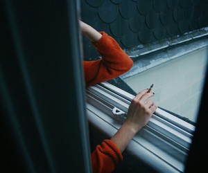 girl, cigarette, and window image