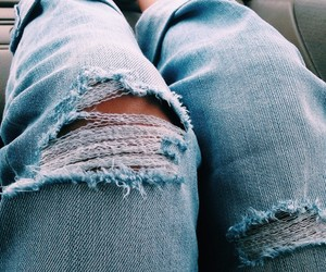 girls, ripped jeans, and jeans image