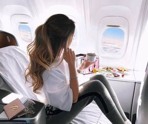 travel, hair, and plane image