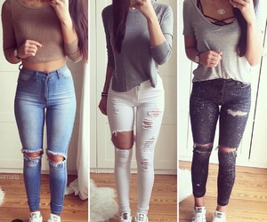 outfit, girl, and jeans image