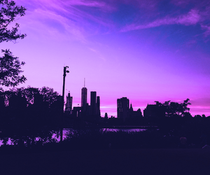 purple, sky, and city image