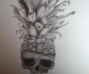 ananas, szkic, and czaszka image