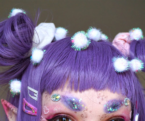 glitter, hair, and purple image