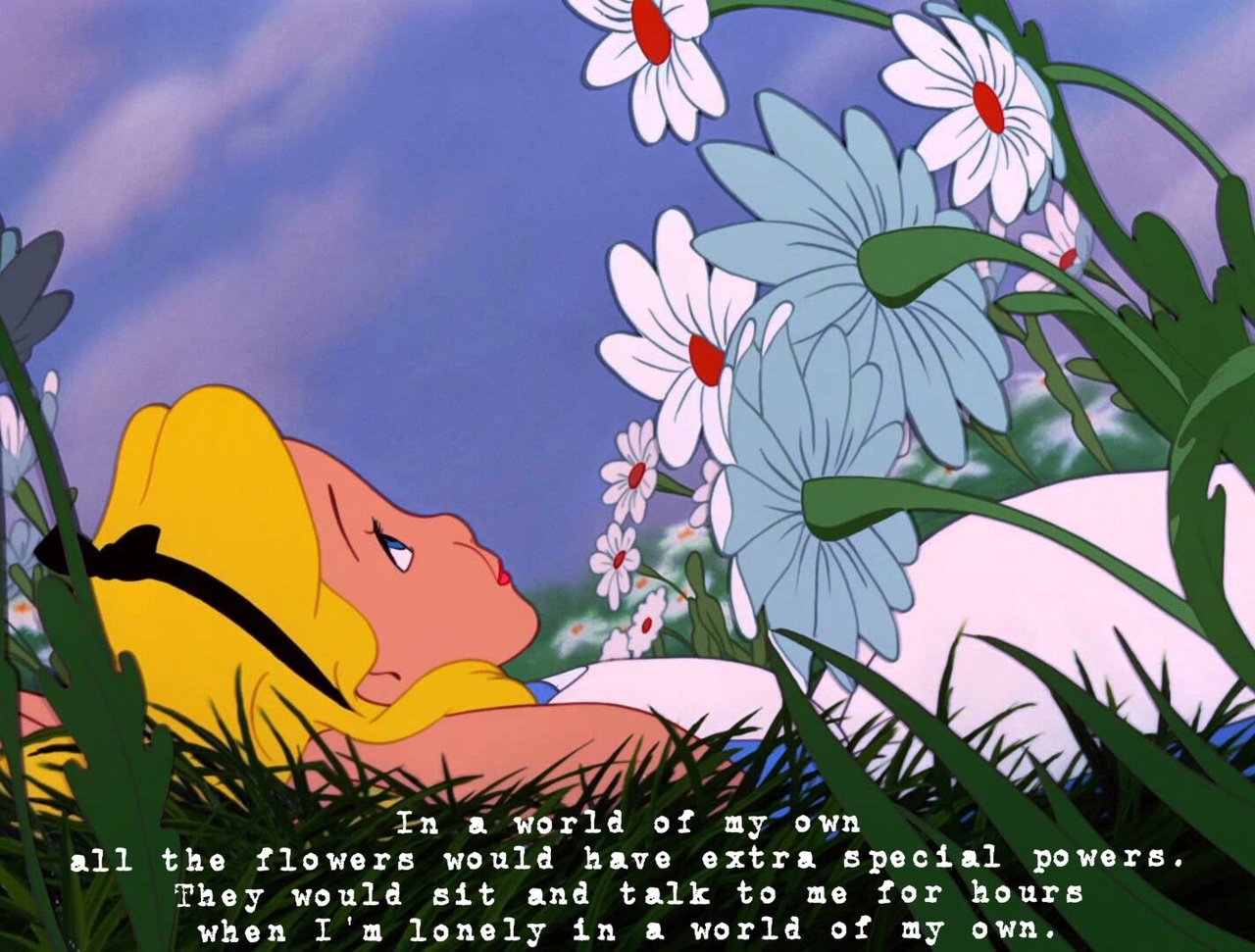 alice in wonderland, alice, and flowers image