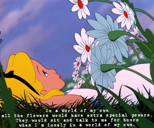 alice in wonderland and flowers image