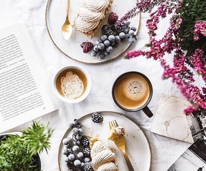 book, food, and cafe image